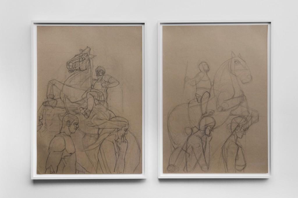 Pedestrian, 2020. Graphite on colour paper, diptych, 84 x 59.4 cm each.